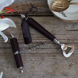 Leather handled Bottle Opener and Corkscrew