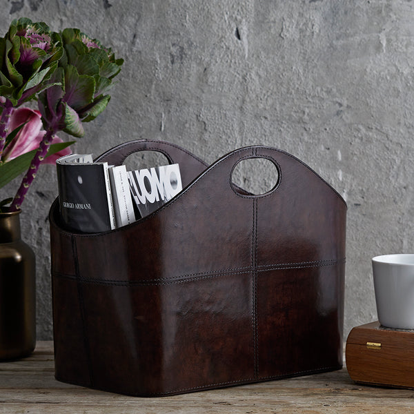 Rich dark chocolate brown curved magazine storage basket