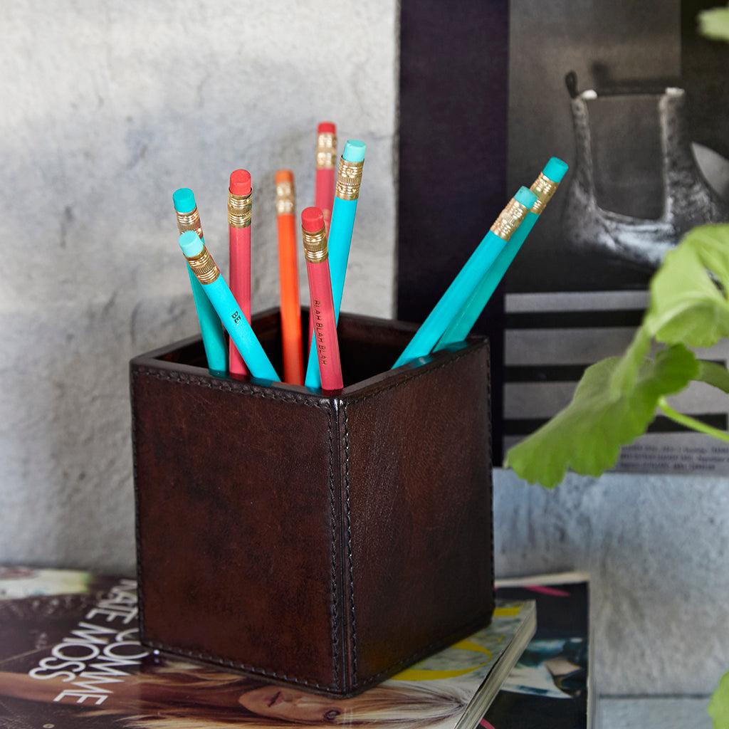 Dark brown leather square pen pot