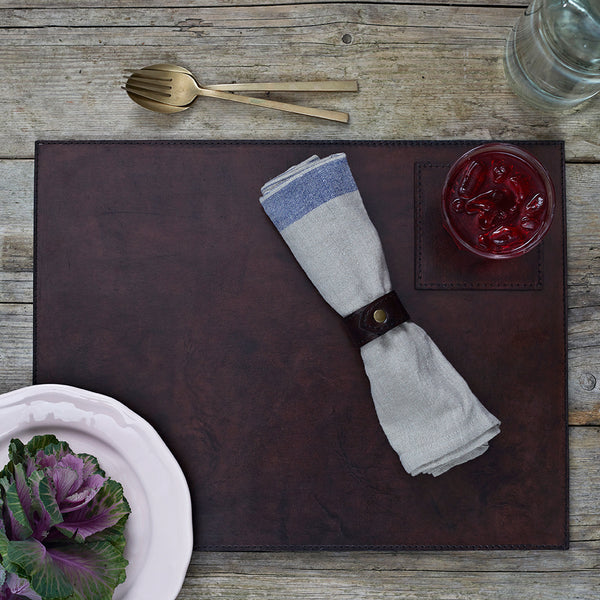 Dark chocolate brown leather place mat
