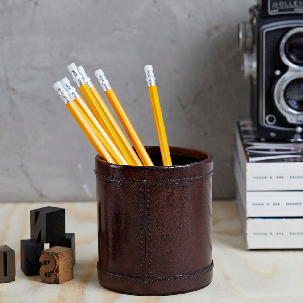 Round Dark Brown Leather Pen Pot