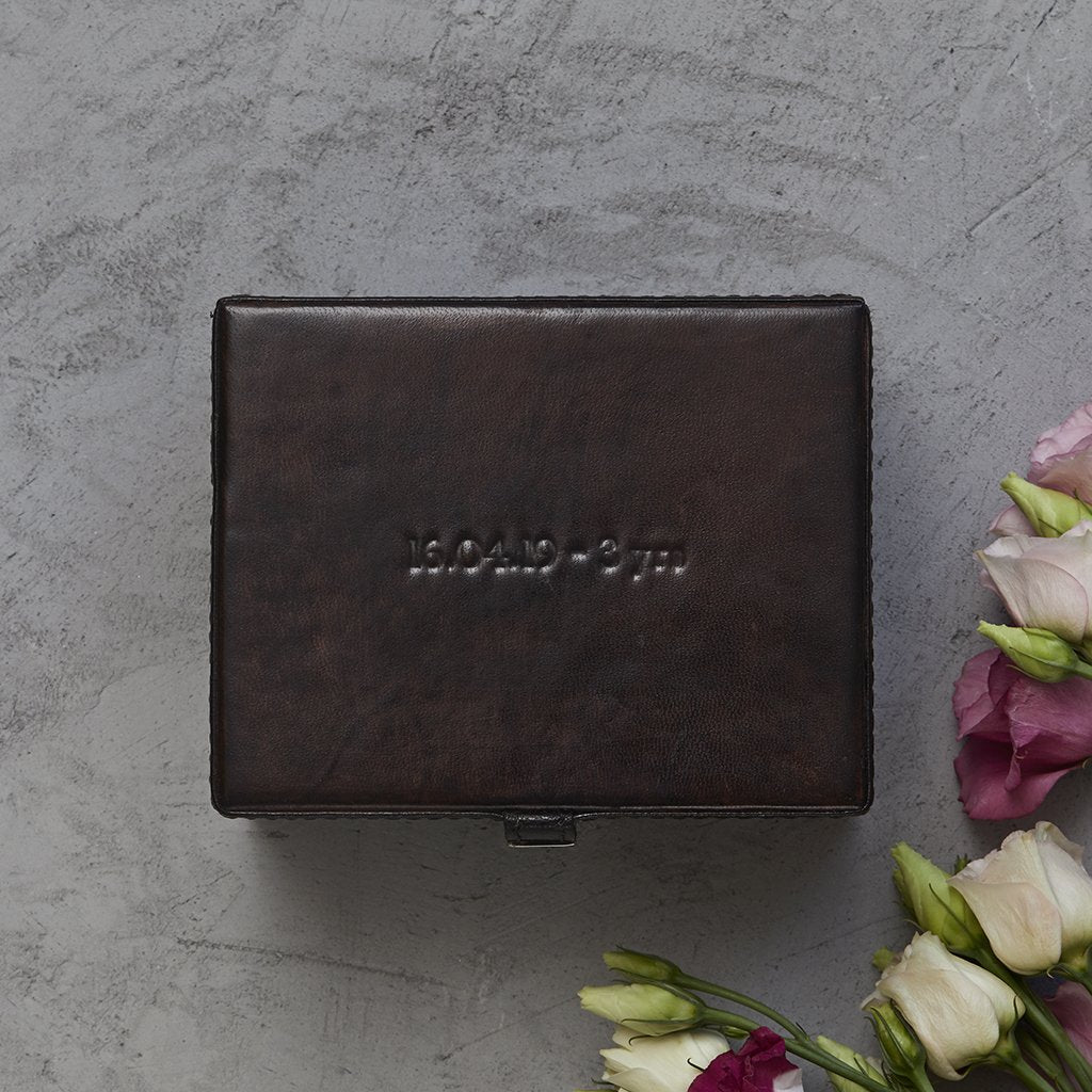 Example of personalised lid of dark brown watch box with chrome clasp