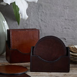 leather coasters round and square