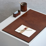 Large leather desk set, pen pot, business card holder and desk mat