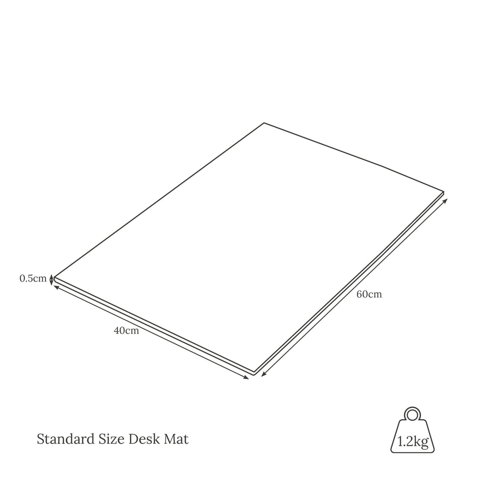 Standard size desk mat weight and dimensions