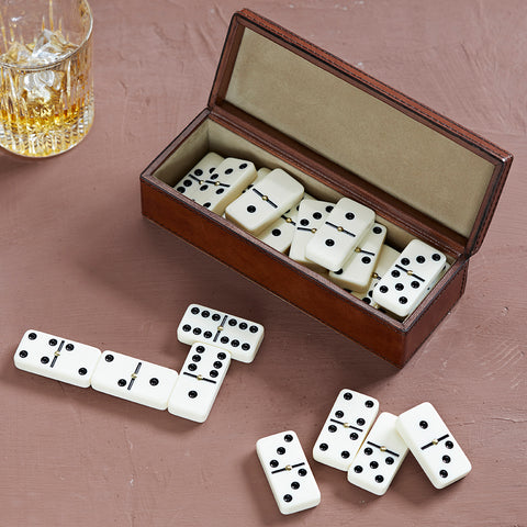 Personalised Leather dominoes box gift set