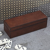 personalised conker brown leather dominoes box