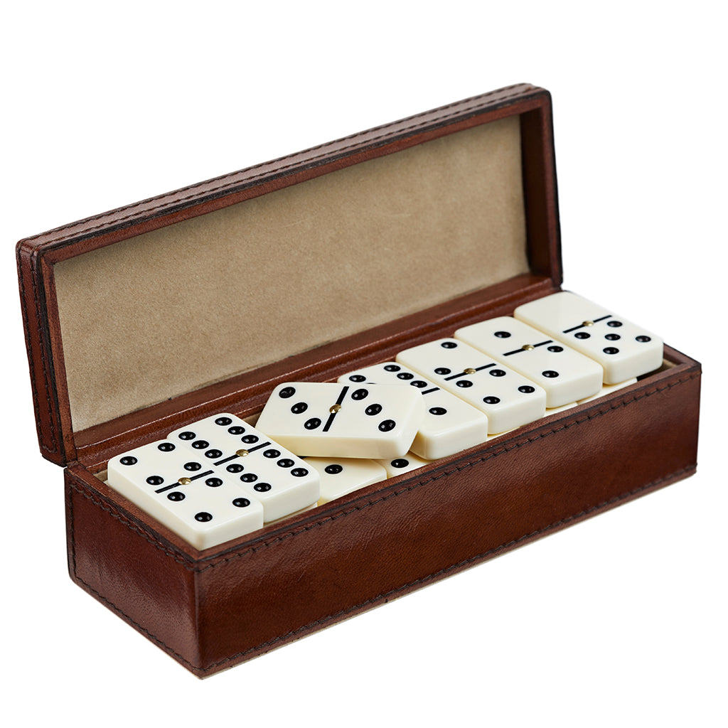Leather dominoes box in conker brown