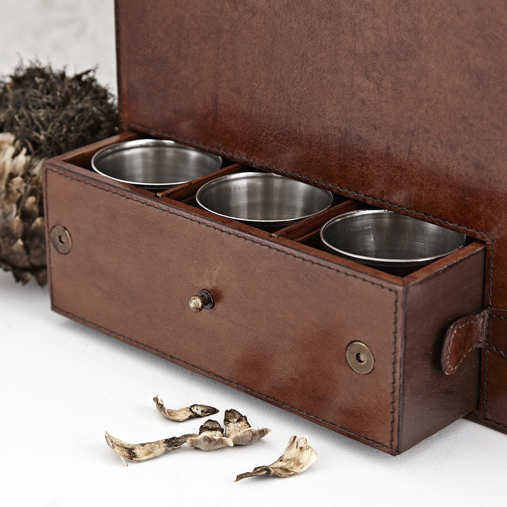 Drawer of the Leather Drinks Box with metal cups in
