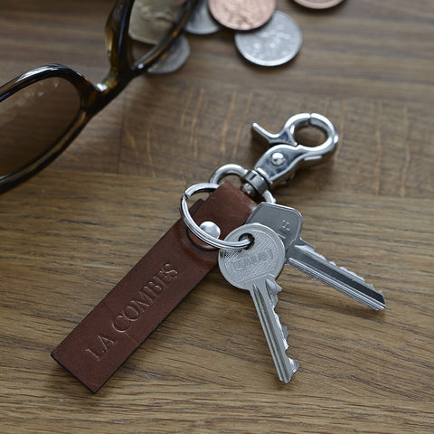 Leather key ring with nickel clasp