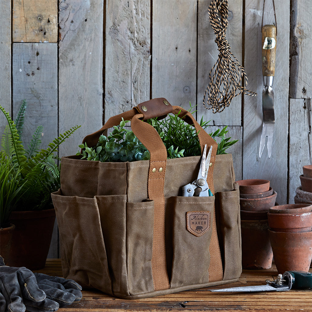 gardening bag in waxed cotton