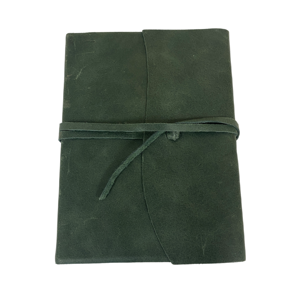 Seconds Leather journal with tie green