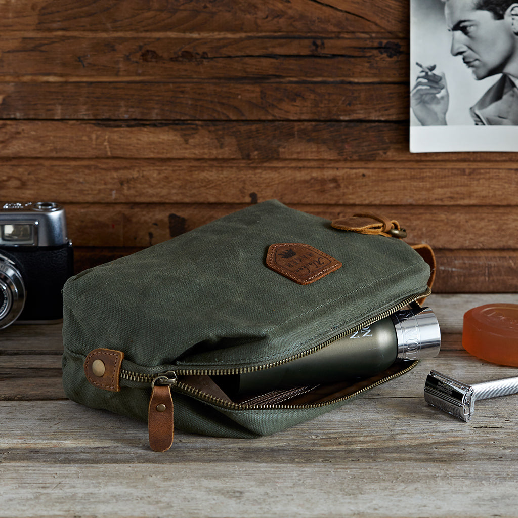 rugged khaki and leather toiletry bag