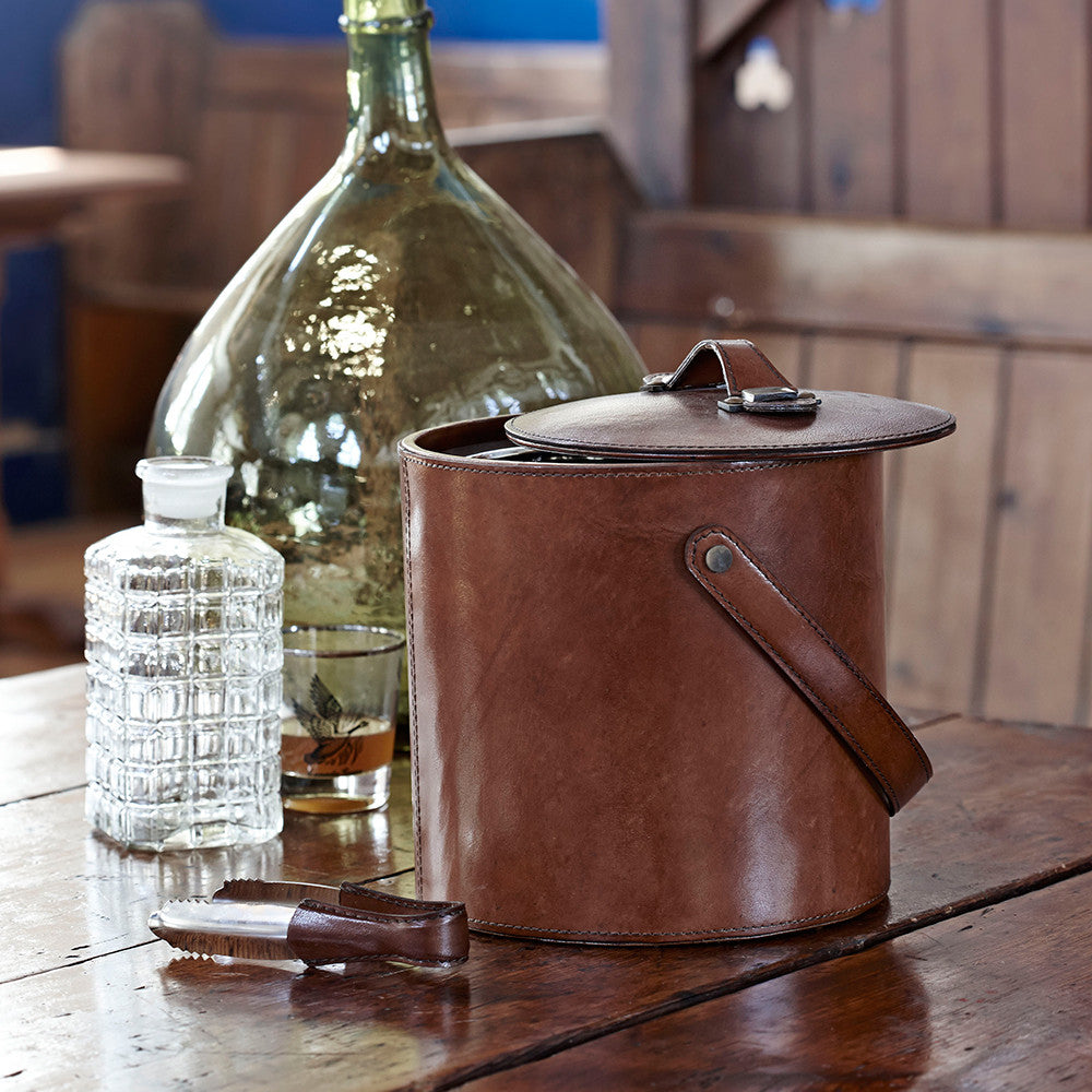 Luxury leather ice bucket