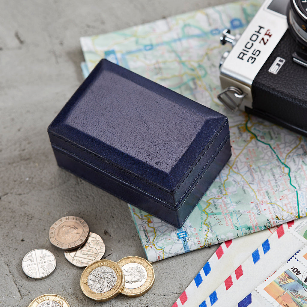 Leather Travel Cufflink Box in ink blue