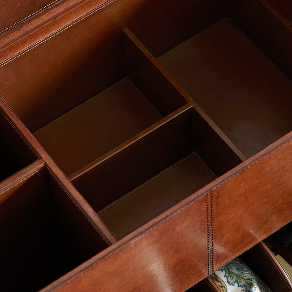 Close up of sections in Leather Picnic Trunk
