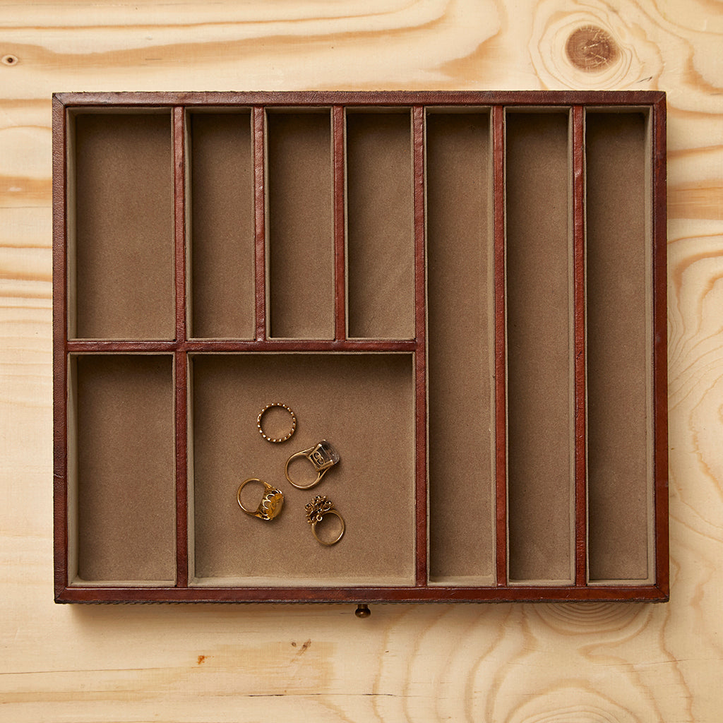 The drawer divided into different compartments