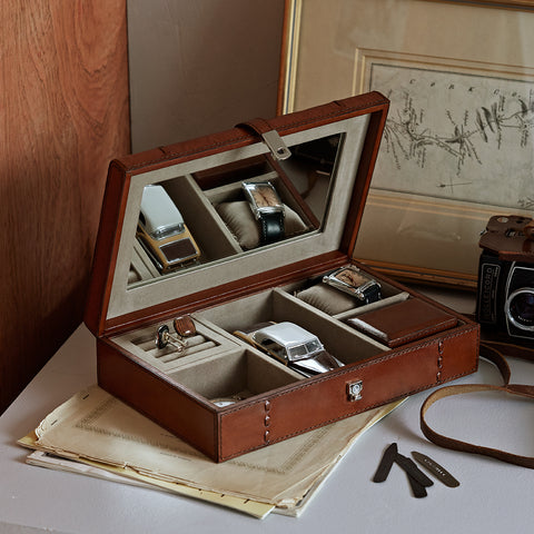 Men's Leather Jewellery Case open