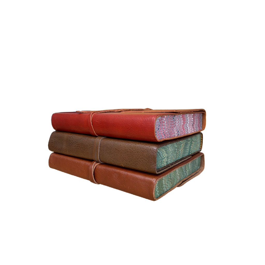 Seconds leather marble edged tie journal in three colours