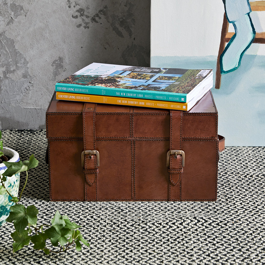 Leather Keepsake Trunk with straps and handles
