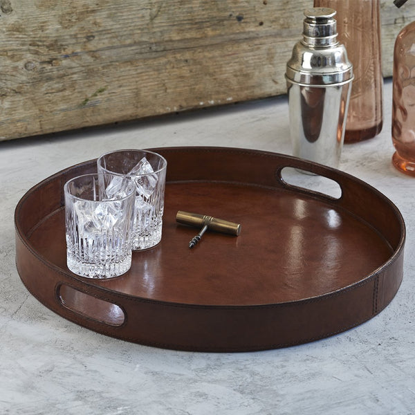 Leather Round serving tray