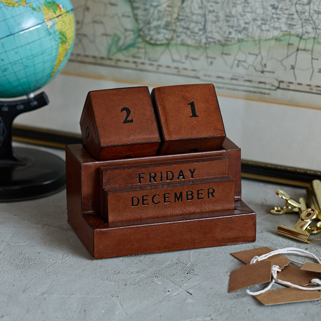 Perpetual leather block calendar