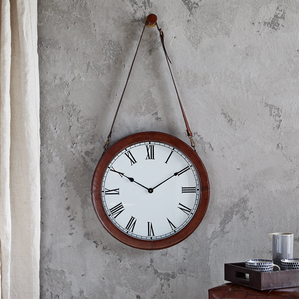 Leather framed wall clock with leather strap