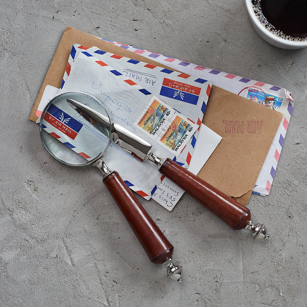 Leather handled magnifying glass and letter opener set
