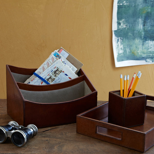 Leather hall desk set including letter rack, in tray and pen pot in conker brown leather
