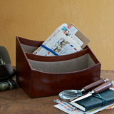 Conker brown leather letter rack