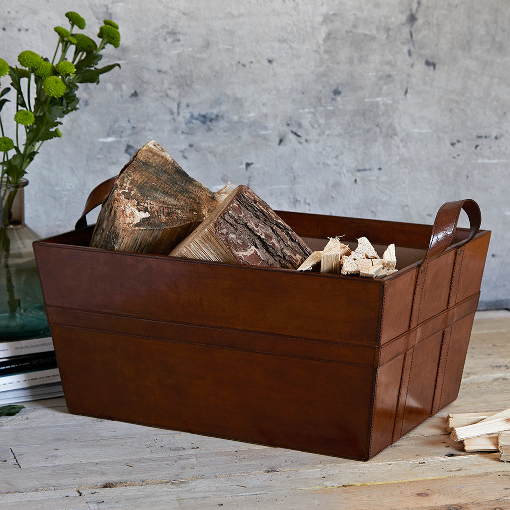 Leather log basket with handles