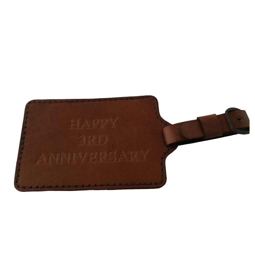 Personalised Seconds Luggage HAPPY 3RD ANNIVERSARY in Conker