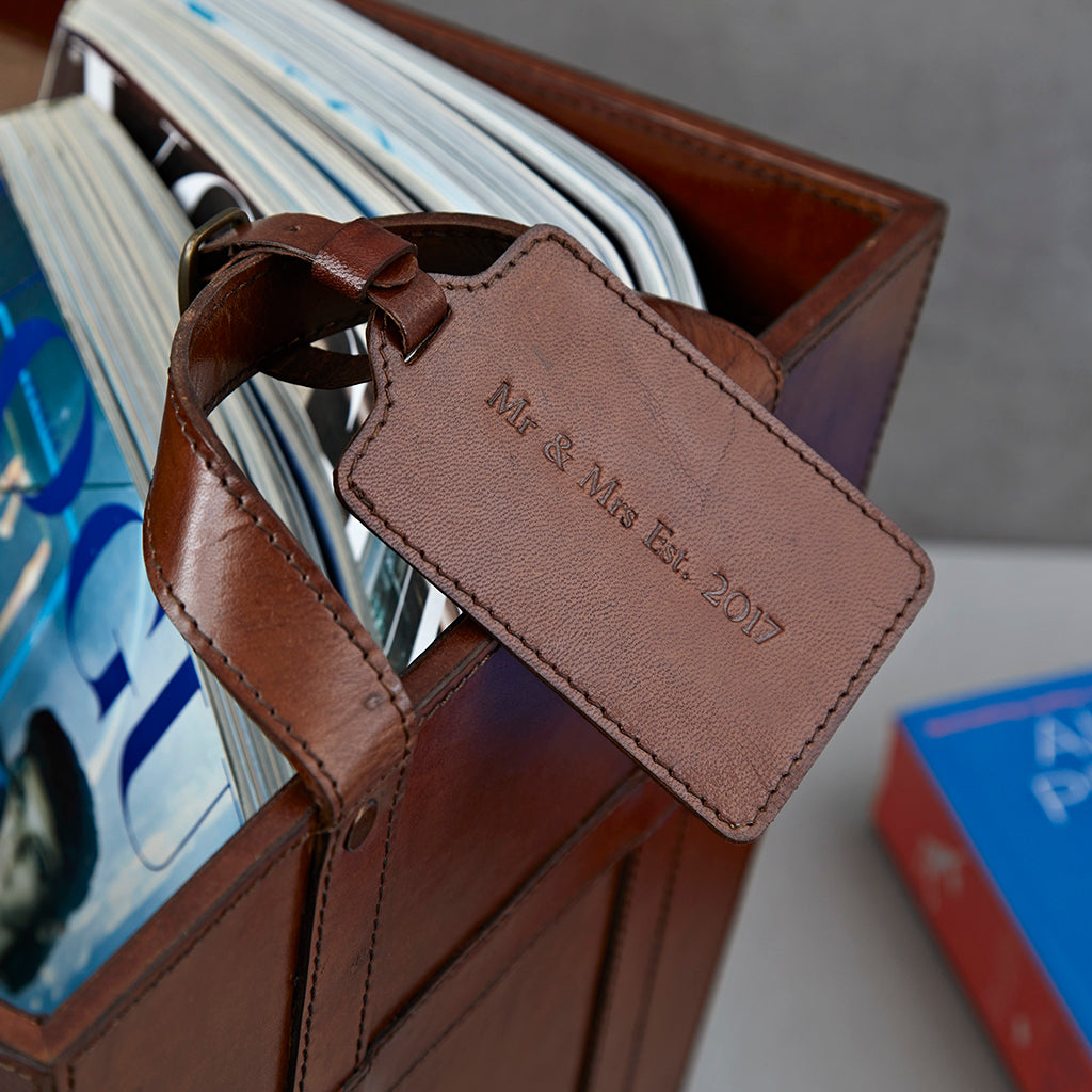 leather luggage tag close up