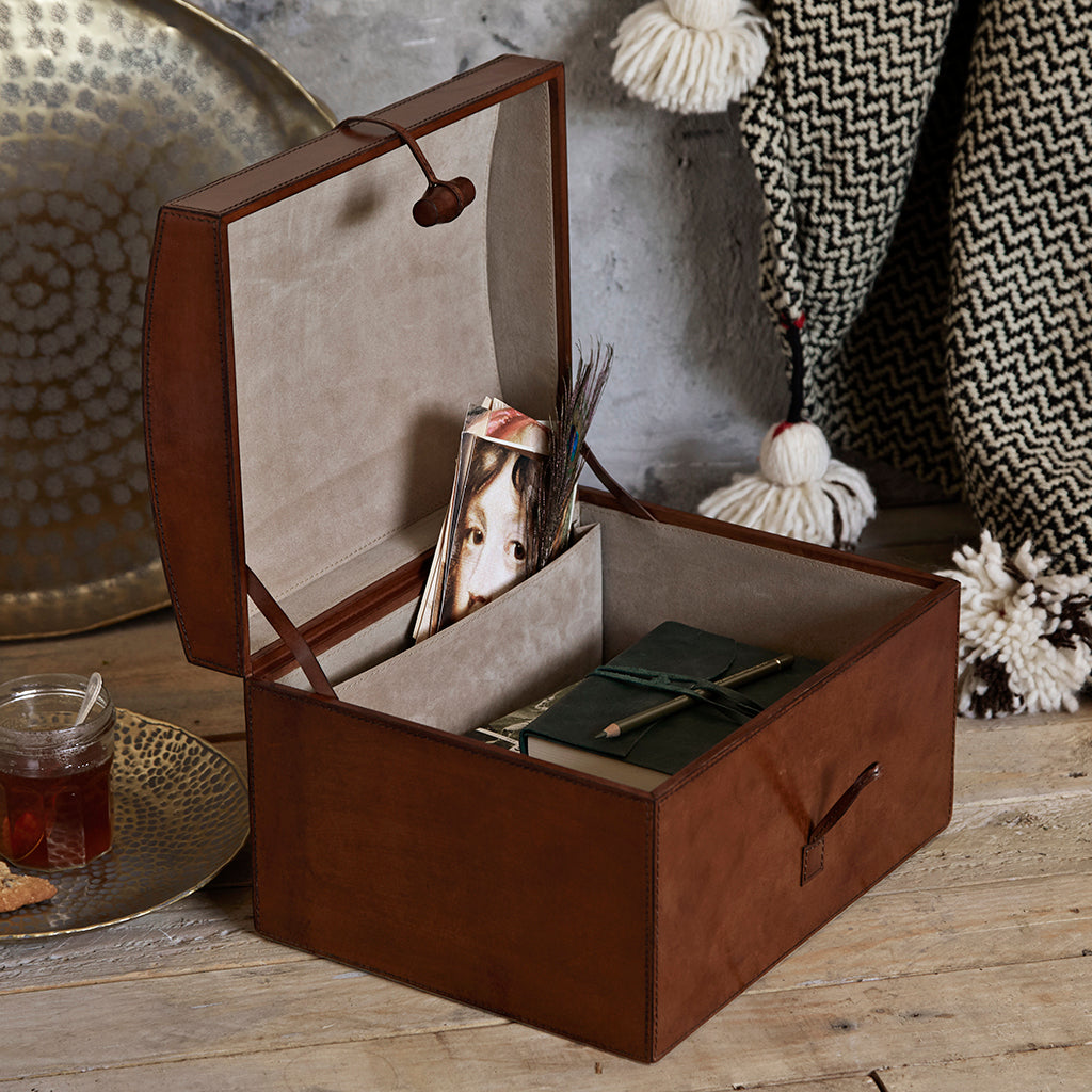 Open leather memory box