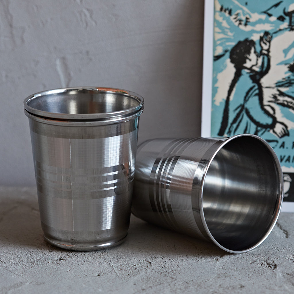 Set of six metal stackable cups