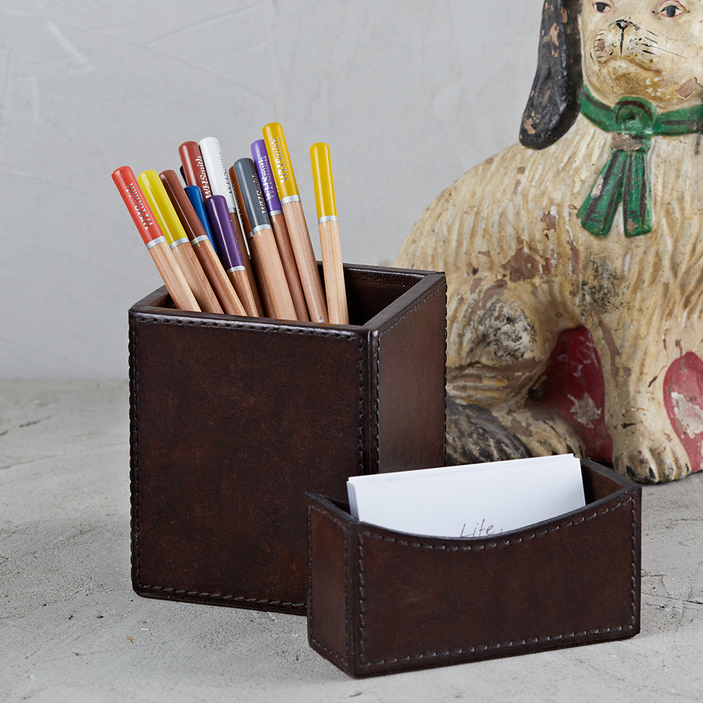 Dark brown business card holder with square pen pot