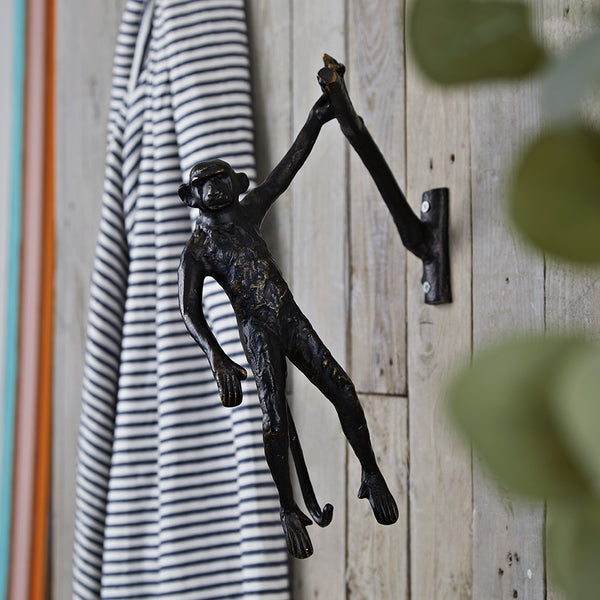 Black bronzed hanging monkey decorative hook