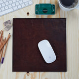 Dark chocolate brown leather mouse mat