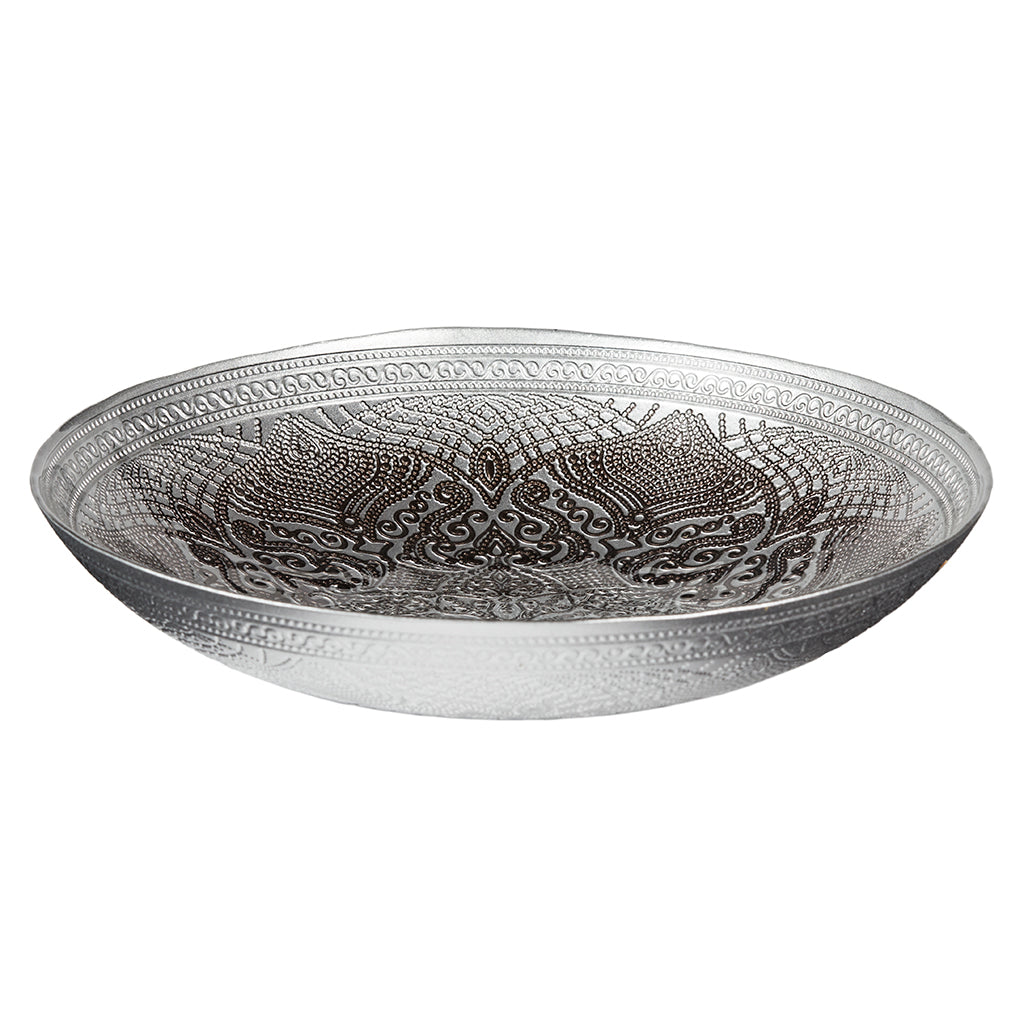 Decorative glass bowl mushroom grey large