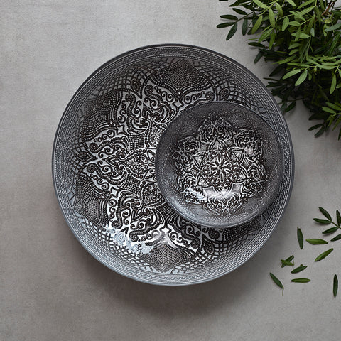 Mushroom grey glass bowl set