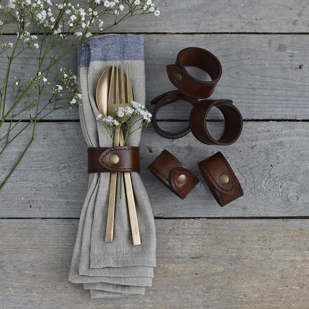 Conker brown leather napkin ring set of six