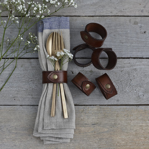 Leather napkin ring set