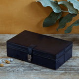 Navy Cufflink Box with Six Sections closed