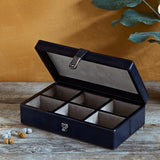 Navy Cufflink Box with Six Sections open