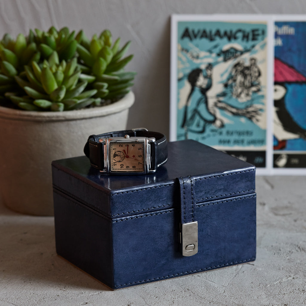 Ink Blue Leather Stud Keepsake Box