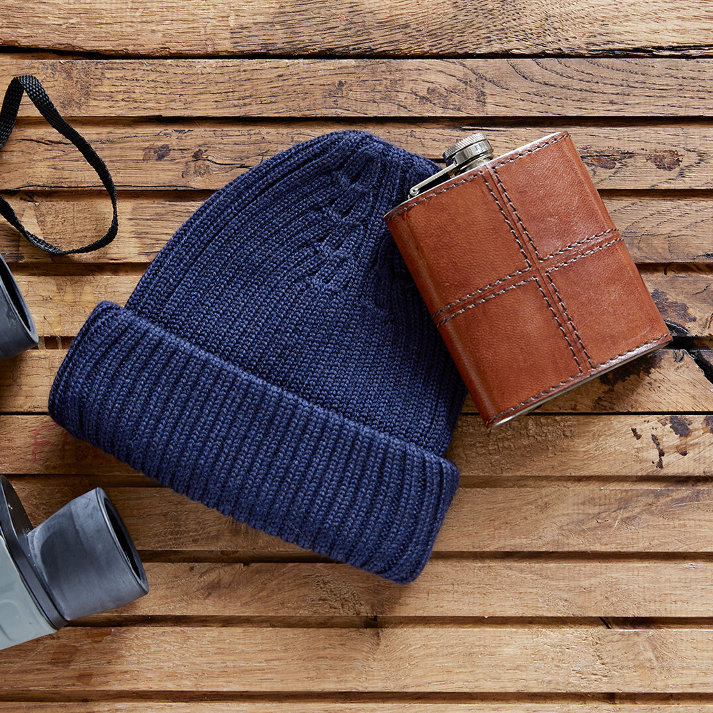 navy beanie and hip flask winter warmer gift set