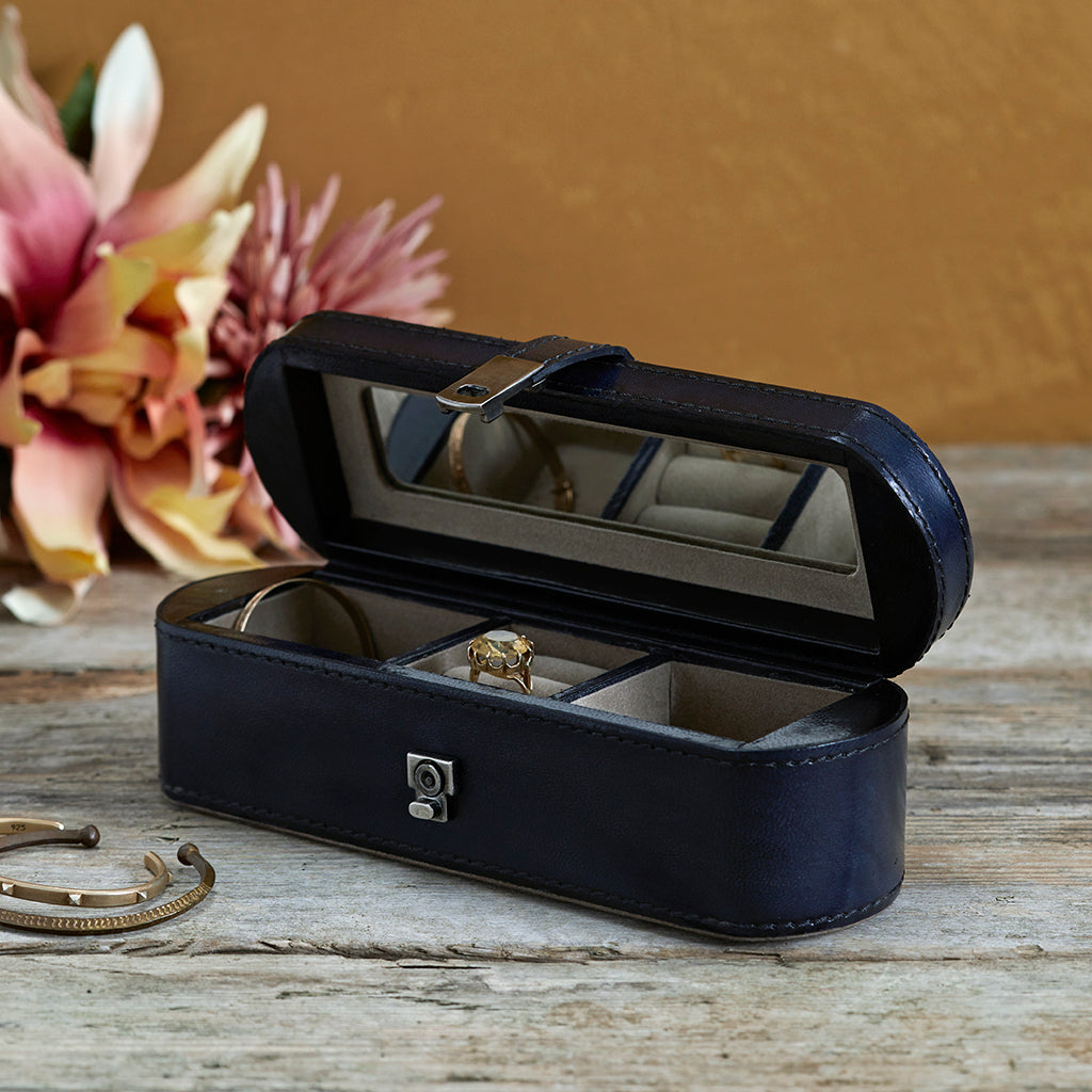 ink blue small jewellery box open
