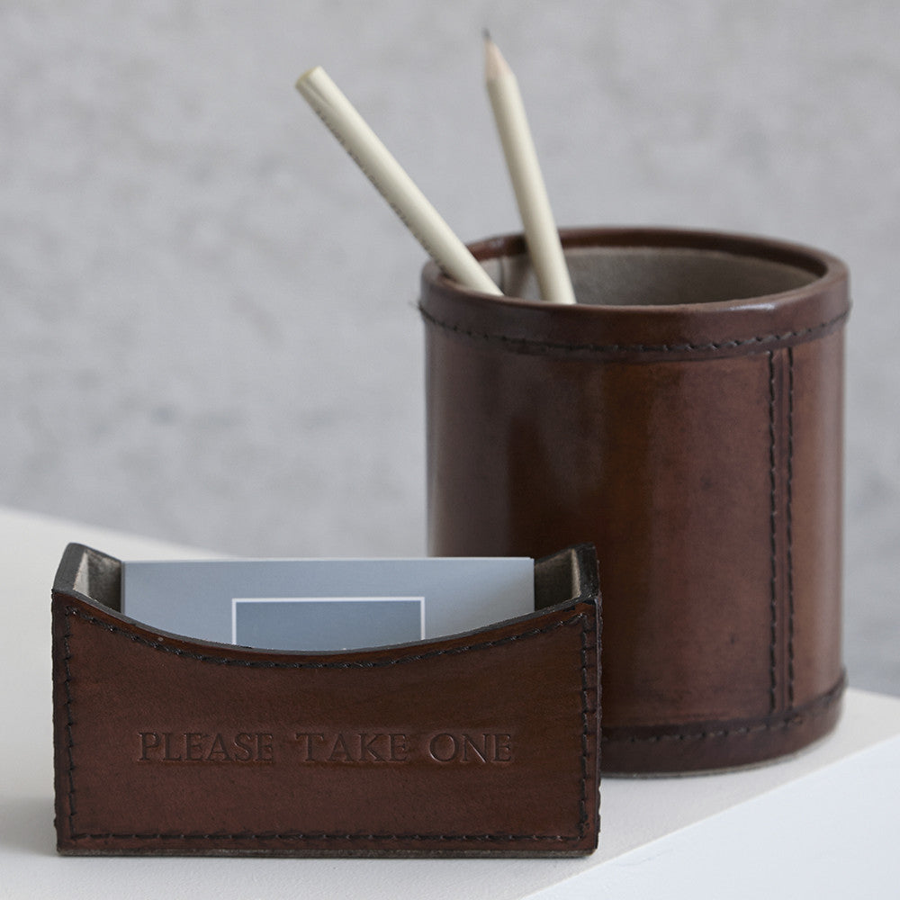 conker brown mini leather desk set with example of personalisation