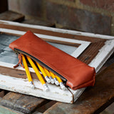 Soft Tan Leather Pencil Case for make up brush