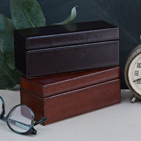 Leather box for glasses or spectacles